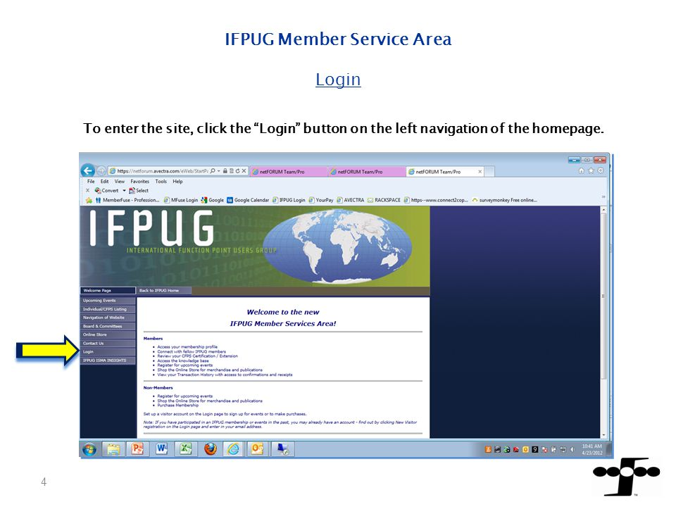 15 IFPUG Member Service Area – Side Buttons Board and Committees Click on Board and Committees button for information on members who are involved with the various committees.
