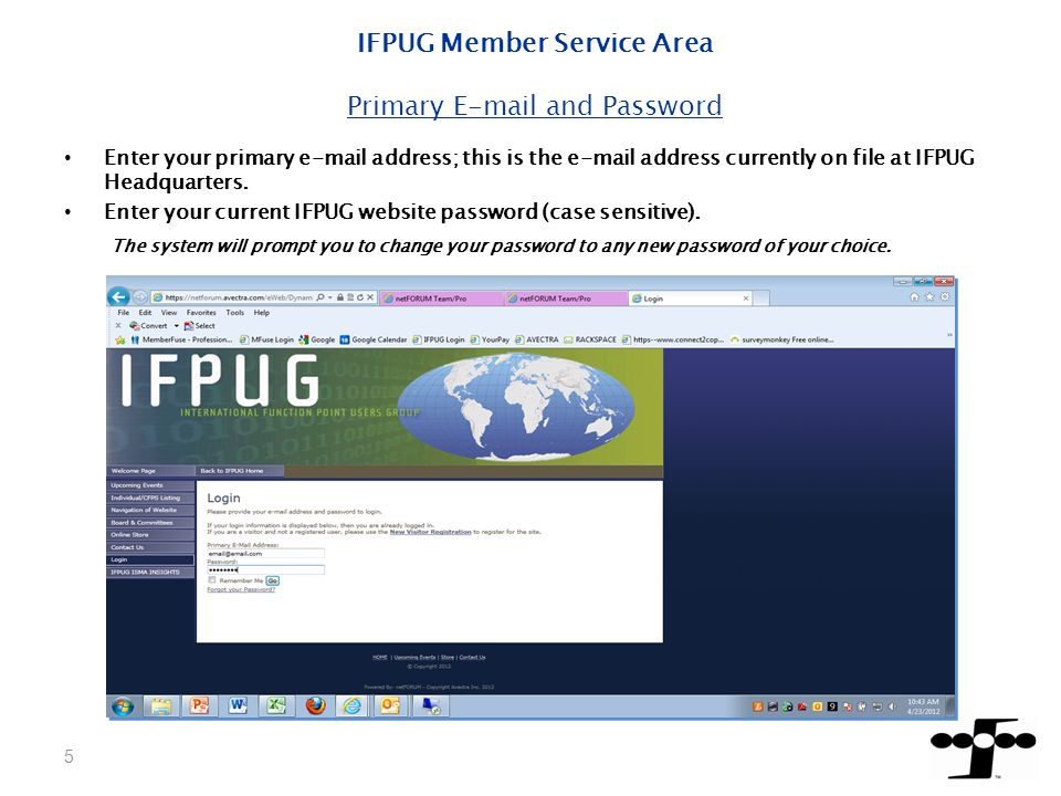 Back to IFPUG Home located at the top row of your buttons will allow you to navigate to the public IFPUG website at any time.
