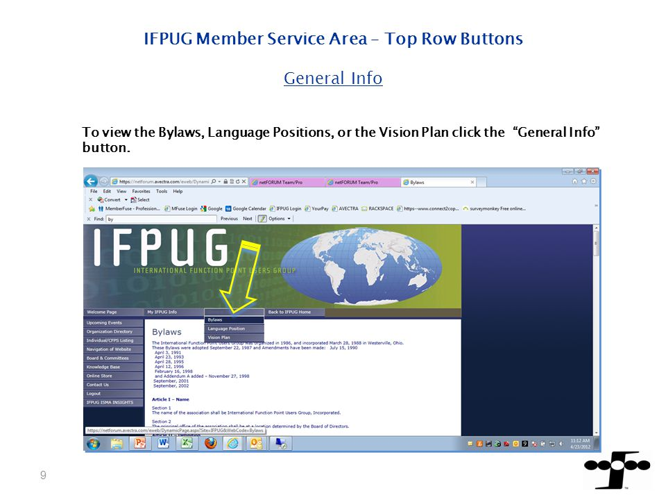 IFPUG Member Service Area – Side Buttons IFPUG ISMA INSIGHTS link will take you to MemberFuse.
