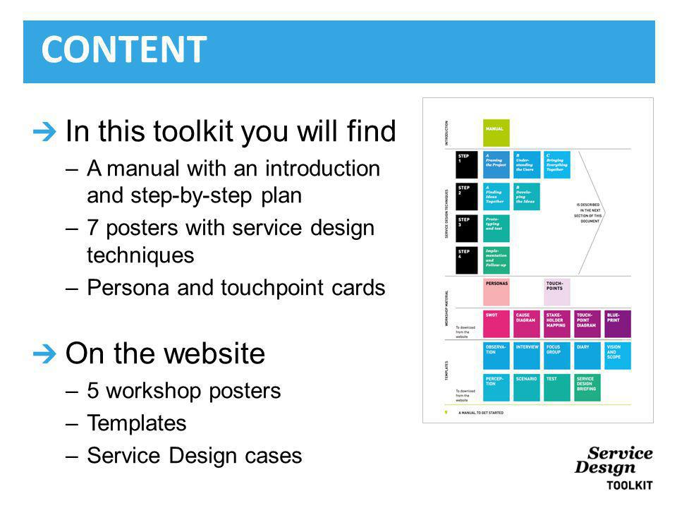 In this toolkit you will find –A manual with an introduction and step-by-step plan –7 posters with service design techniques –Persona and touchpoint cards On the website –5 workshop posters –Templates –Service Design cases CONTENT