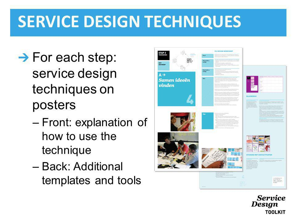 For each step: service design techniques on posters –Front: explanation of how to use the technique –Back: Additional templates and tools SERVICE DESIGN TECHNIQUES