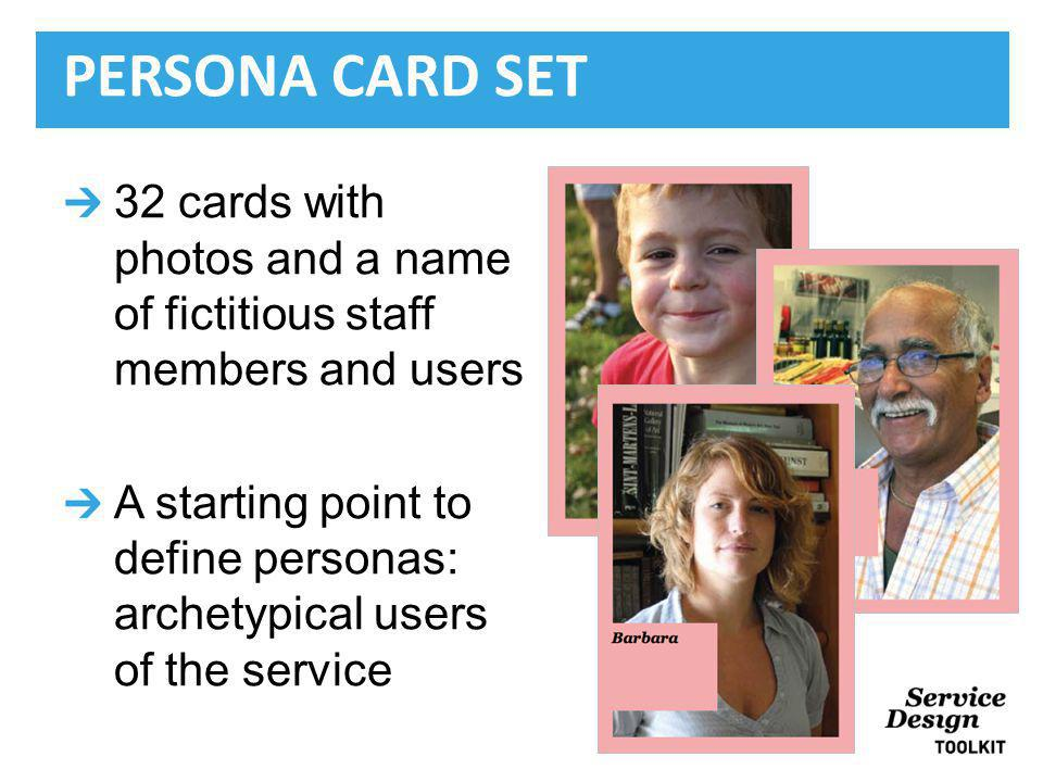 32 cards with photos and a name of fictitious staff members and users A starting point to define personas: archetypical users of the service PERSONA CARD SET