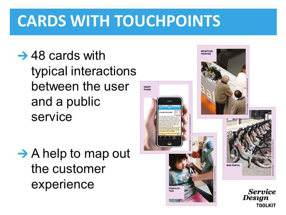 48 cards with typical interactions between the user and a public service A help to map out the customer experience CARDS WITH TOUCHPOINTS