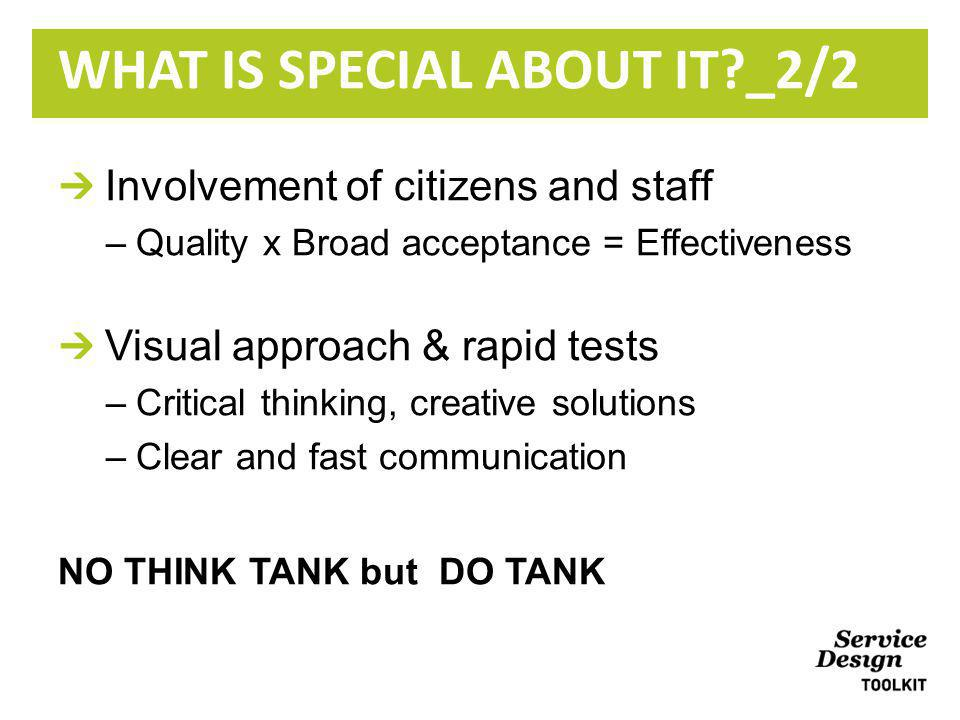 Involvement of citizens and staff –Quality x Broad acceptance = Effectiveness Visual approach & rapid tests –Critical thinking, creative solutions –Clear and fast communication NO THINK TANK but DO TANK WHAT IS SPECIAL ABOUT IT _2/2
