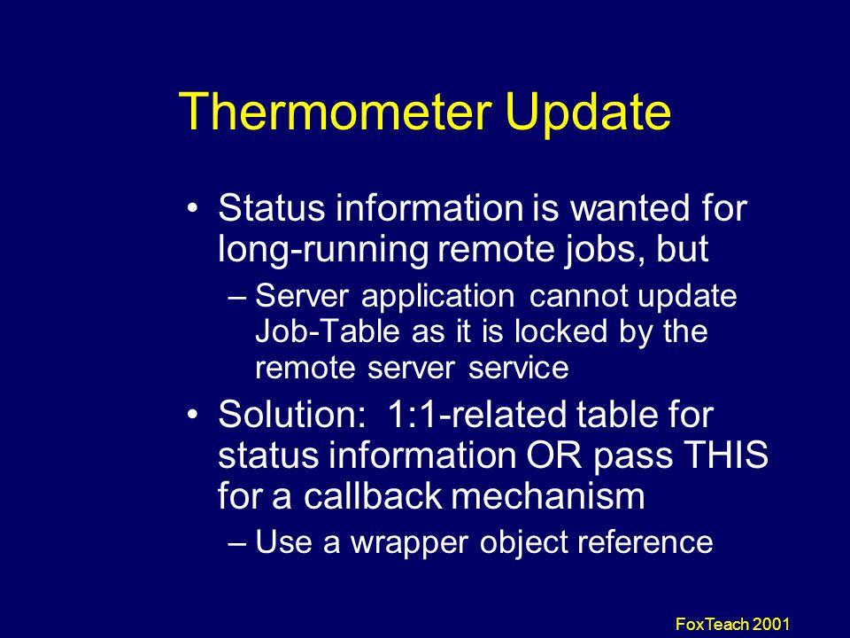 FoxTeach 2001 Client Methods IsServerActive ServerStart JobCreate JobStatusGet JobTimerCreate (Thermometer)