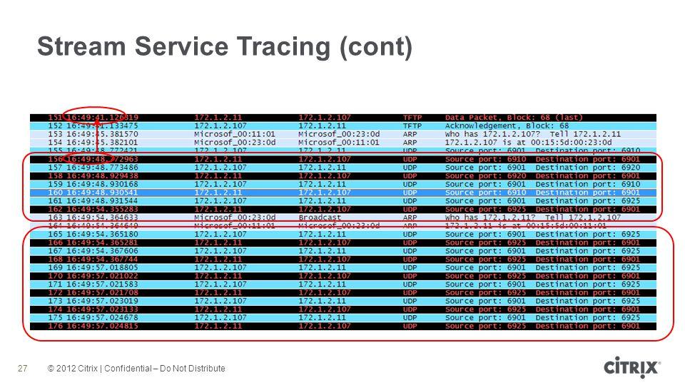 © 2012 Citrix | Confidential – Do Not Distribute Stream Service Tracing (cont) 27
