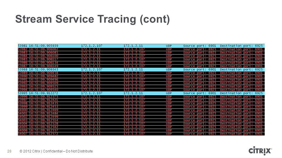 © 2012 Citrix | Confidential – Do Not Distribute Stream Service Tracing (cont) 28