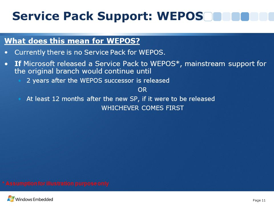 What does this mean for WEPOS? Currently there is no Service Pack for WEPOS. If Microsoft released a Service Pack to WEPOS*, mainstream support for th