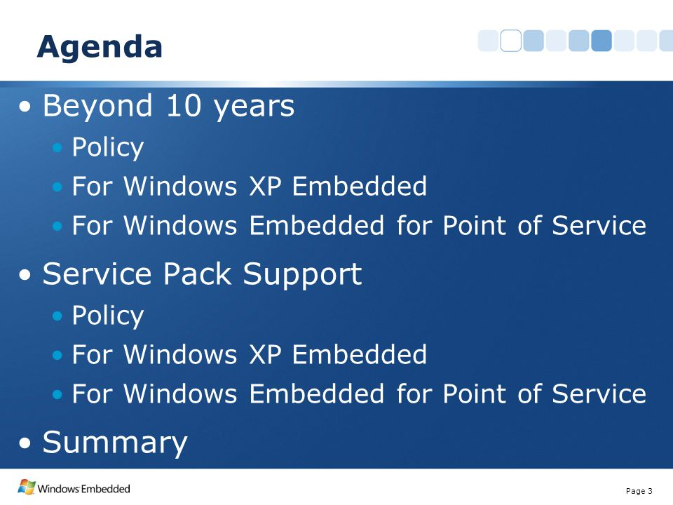 Agenda Beyond 10 years Policy For Windows XP Embedded For Windows Embedded for Point of Service Service Pack Support Policy For Windows XP Embedded Fo