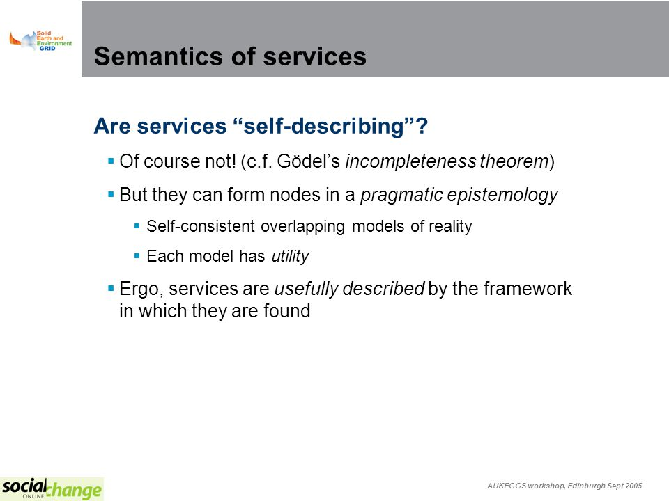 AUKEGGS workshop, Edinburgh Sept 2005 Semantics of services Are services self-describing.