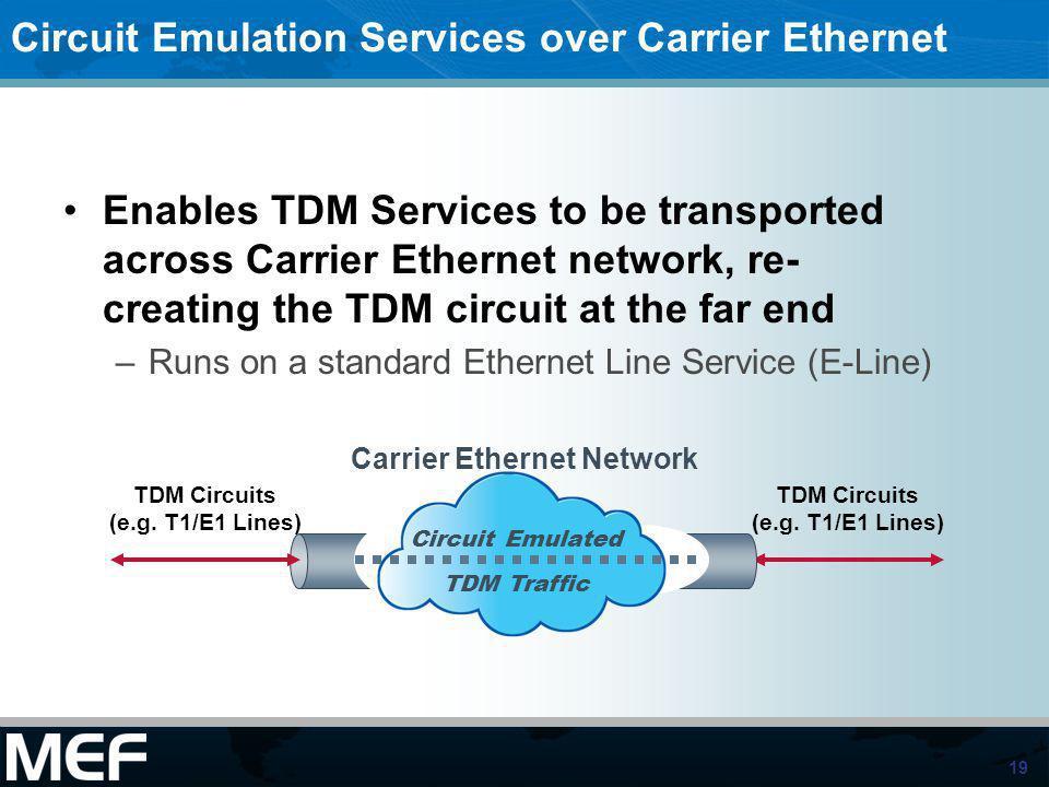 19 TDM Circuits (e.g. T1/E1 Lines) Circuit Emulation Services over Carrier Ethernet Enables TDM Services to be transported across Carrier Ethernet net