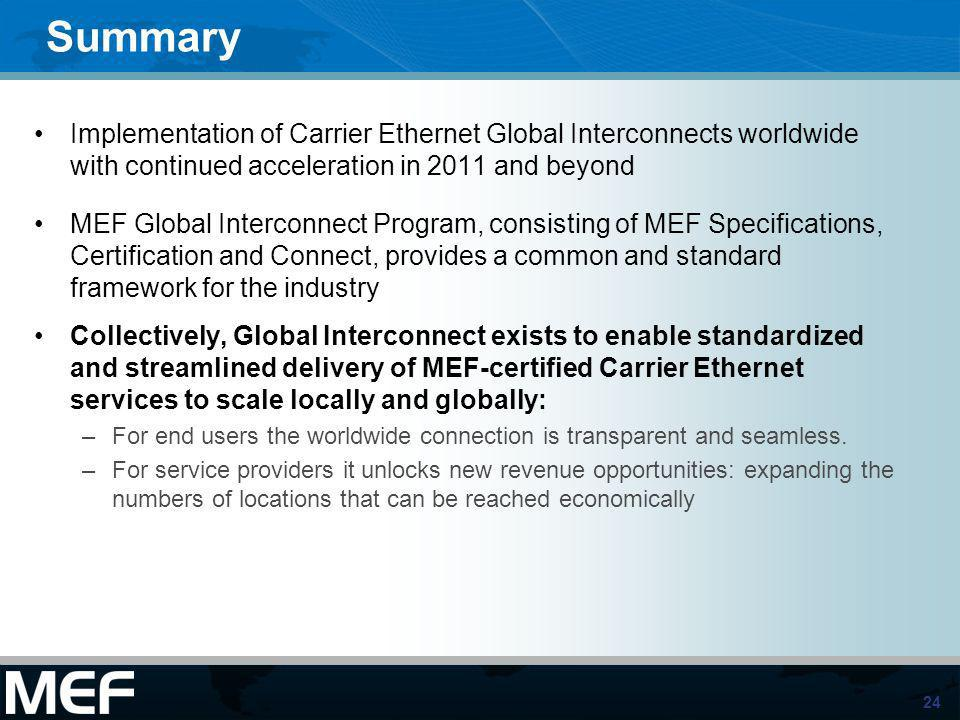 24 Summary Implementation of Carrier Ethernet Global Interconnects worldwide with continued acceleration in 2011 and beyond MEF Global Interconnect Pr