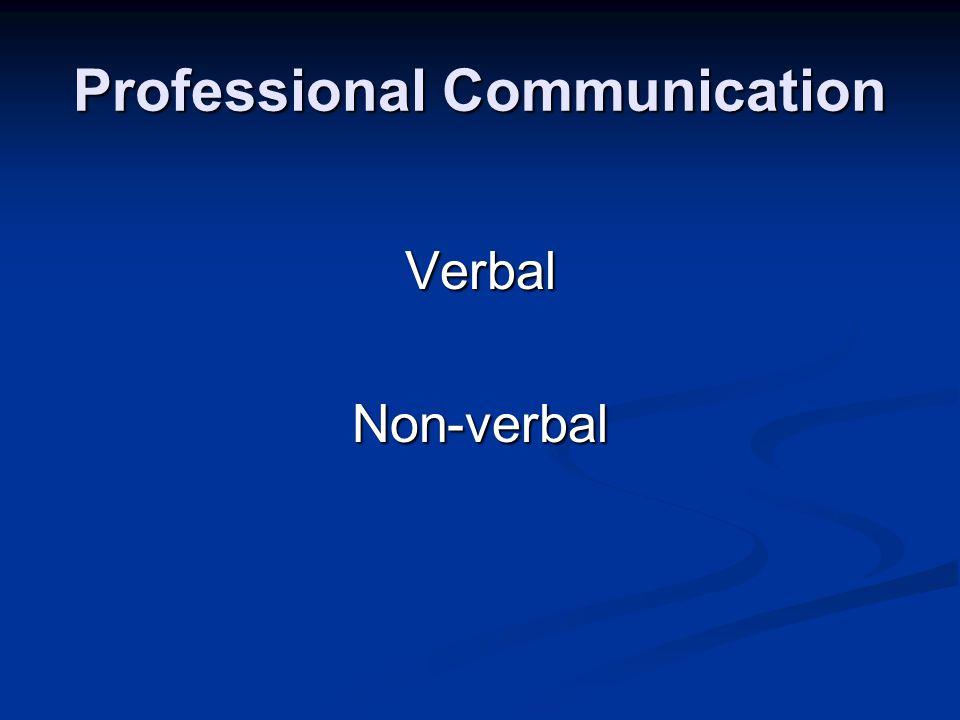 Professional Communication VerbalNon-verbal