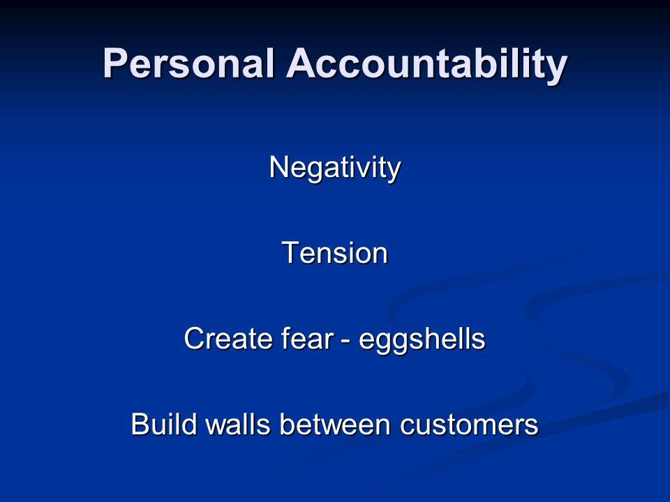 Personal Accountability NegativityTension Create fear - eggshells Build walls between customers
