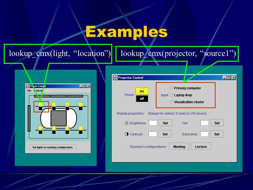 Examples lookup_cmx(projector, source1)lookup_cmx(light, location)