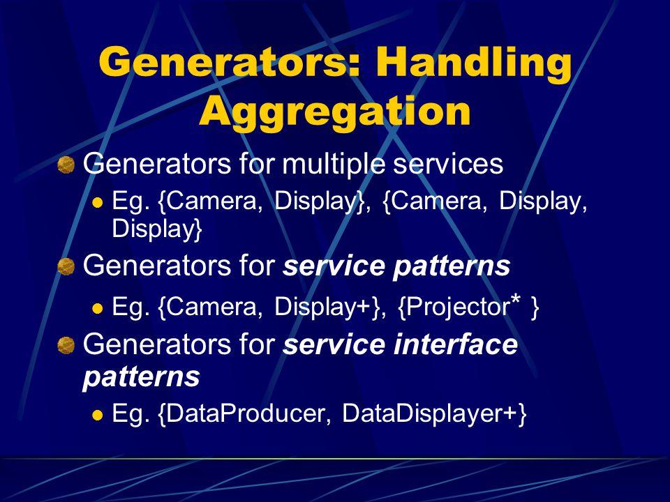 Generators: Handling Aggregation Generators for multiple services Eg.