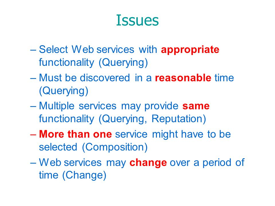 Issues –Select Web services with appropriate functionality (Querying) –Must be discovered in a reasonable time (Querying) –Multiple services may provide same functionality (Querying, Reputation) –More than one service might have to be selected (Composition) –Web services may change over a period of time (Change)