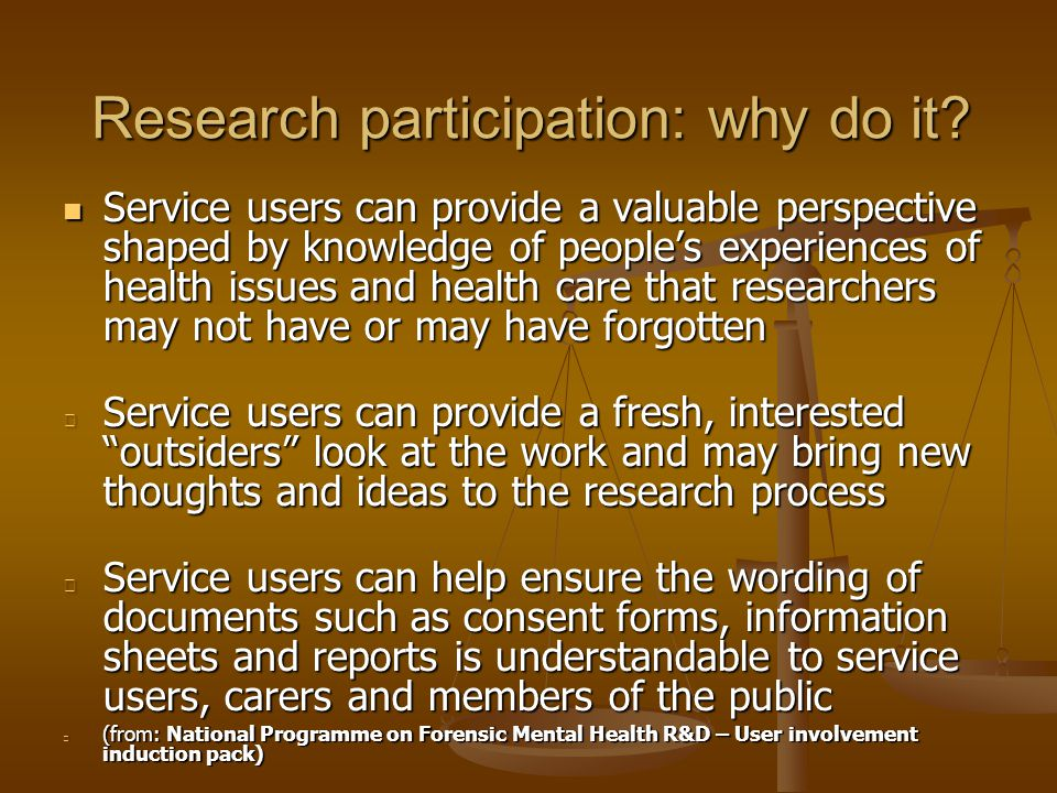 Hopes for the future of participation in research: an optimistic scenario: Service user participation will lead to all clinical trials (including pharma industry) being submitted for approval to committees of well-trained, experienced service users at the concept stage Service user participation will lead to all clinical trials (including pharma industry) being submitted for approval to committees of well-trained, experienced service users at the concept stage New research methods and measures will be developed with service user participation New research methods and measures will be developed with service user participation No clinical trial will be acceptable unless its methods and outcome measures reflect service user values e.g.