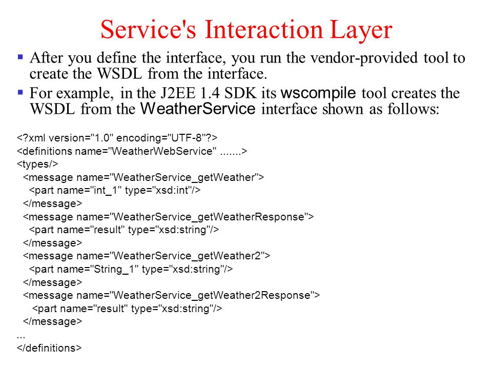 Service's Interaction Layer After you define the interface, you run the vendor-provided tool to create the WSDL from the interface. For example, in th