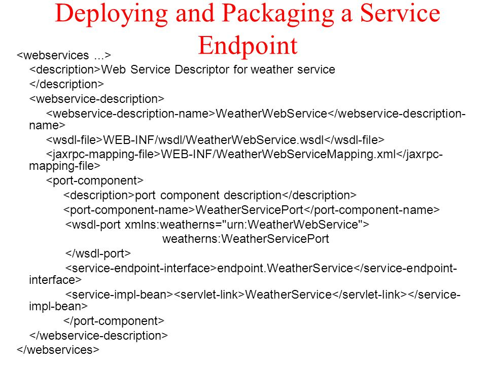 Deploying and Packaging a Service Endpoint Web Service Descriptor for weather service WeatherWebService WEB-INF/wsdl/WeatherWebService.wsdl WEB-INF/We