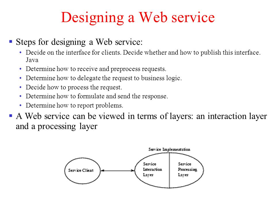 Service s Interaction Layer Two approaches to developing the interface definition for a Web service are: Java-to-WSDL: Start with a set of Java interfaces for the Web service WSDL-to-Java: Start with a WSDL document describing the details of the Web service interface.
