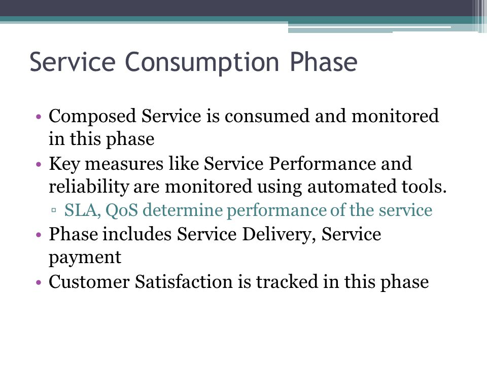 Service Consumption Phase Composed Service is consumed and monitored in this phase Key measures like Service Performance and reliability are monitored