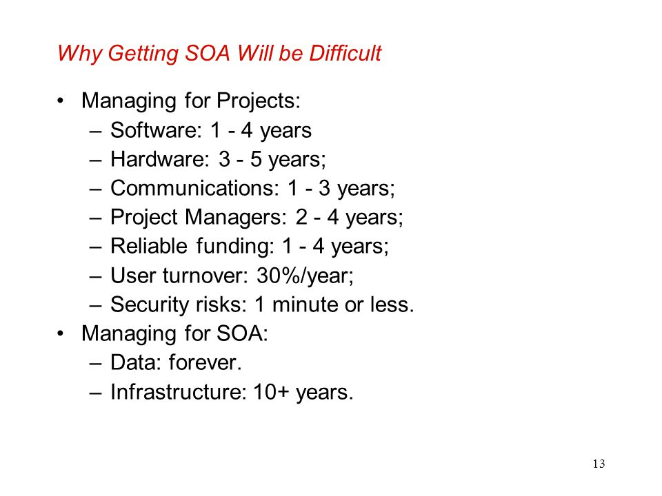13 Why Getting SOA Will be Difficult Managing for Projects: –Software: 1 - 4 years –Hardware: 3 - 5 years; –Communications: 1 - 3 years; –Project Mana