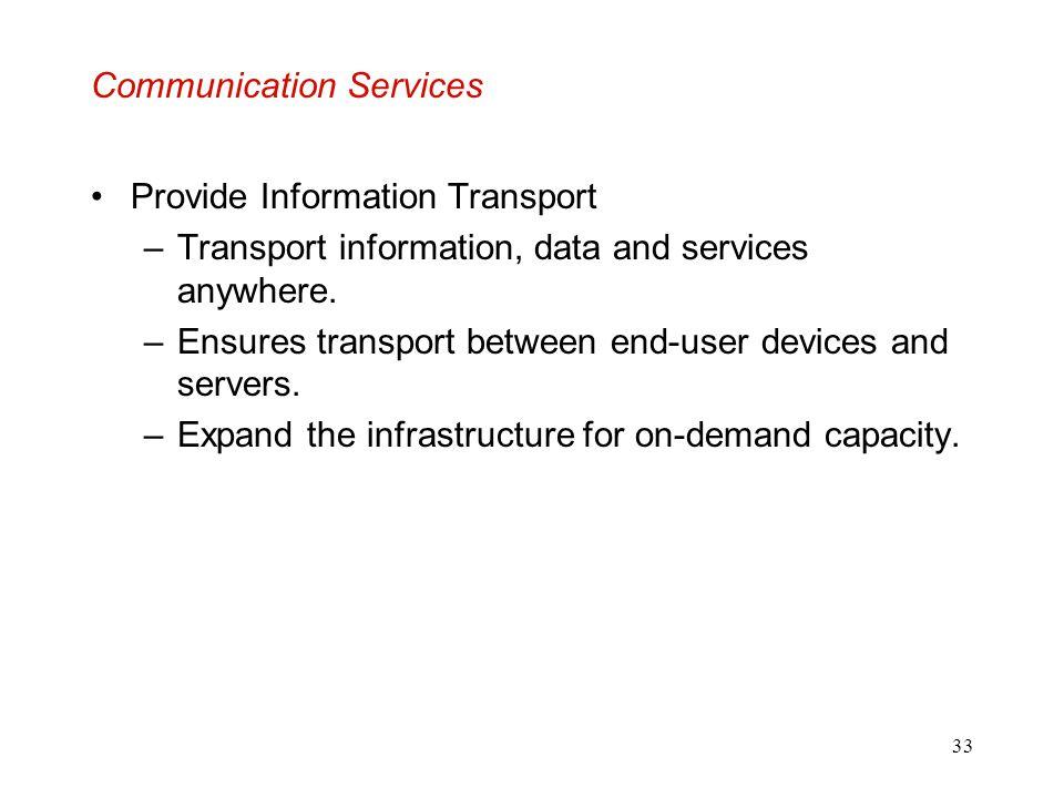 33 Communication Services Provide Information Transport –Transport information, data and services anywhere. –Ensures transport between end-user device