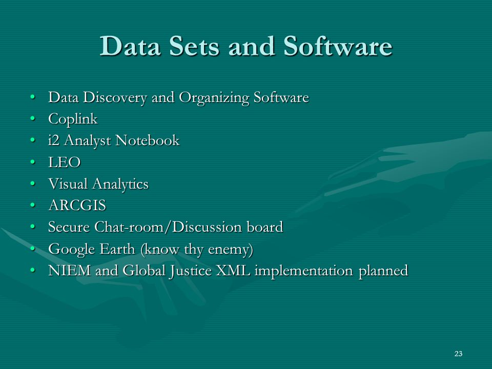 23 Data Sets and Software Data Discovery and Organizing SoftwareData Discovery and Organizing Software CoplinkCoplink i2 Analyst Notebooki2 Analyst No