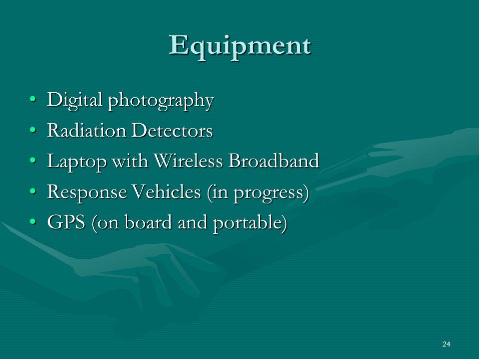 24 Equipment Digital photographyDigital photography Radiation DetectorsRadiation Detectors Laptop with Wireless BroadbandLaptop with Wireless Broadban
