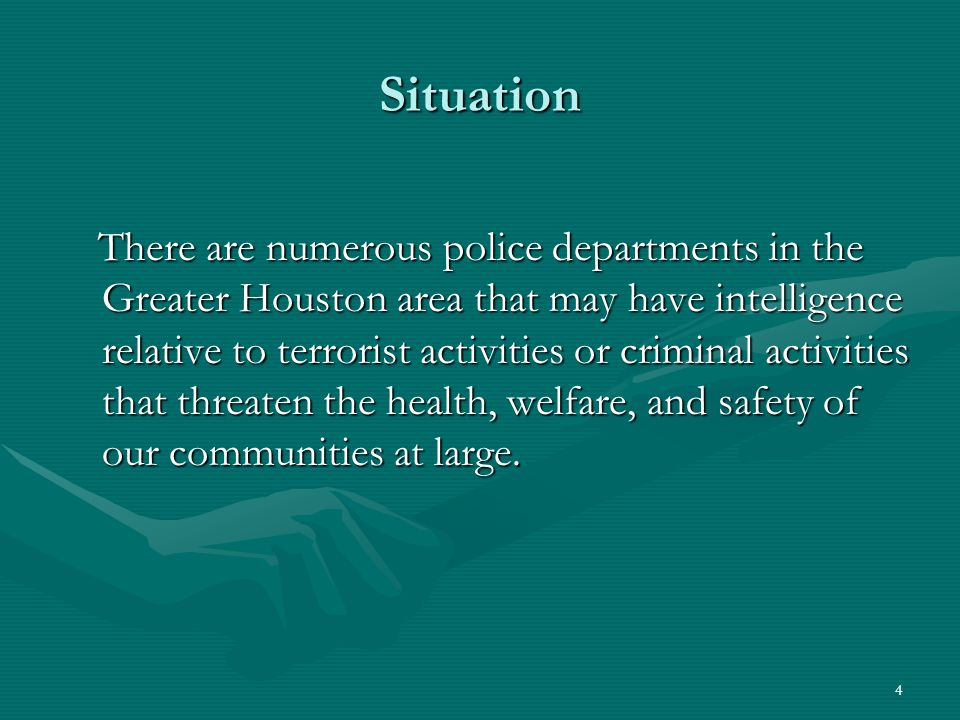 5 Situation A regional criminal intelligence service gathers information and intelligence into other community threats such as organized crime, serial crimes, emerging crimes and trends, and shares that intelligence with all the partners in the service.