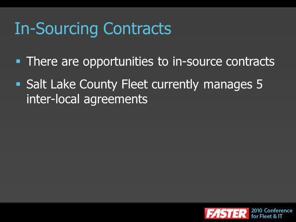 In-Sourcing Contracts There are opportunities to in-source contracts Salt Lake County Fleet currently manages 5 inter-local agreements