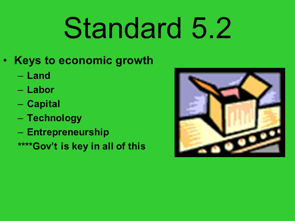 Standard 5.2 Keys to economic growth –Land –Labor –Capital –Technology –Entrepreneurship ****Govt is key in all of this
