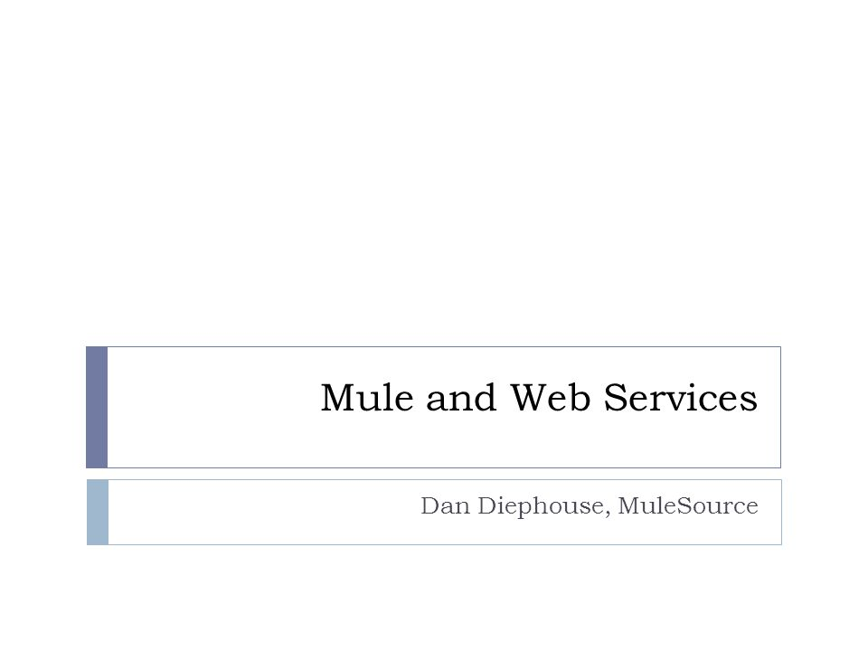 Mule and Web Services Dan Diephouse, MuleSource