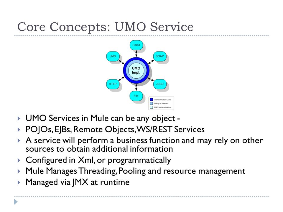 Core Concepts: UMO Service UMO Services in Mule can be any object - POJOs, EJBs, Remote Objects, WS/REST Services A service will perform a business function and may rely on other sources to obtain additional information Configured in Xml, or programmatically Mule Manages Threading, Pooling and resource management Managed via JMX at runtime