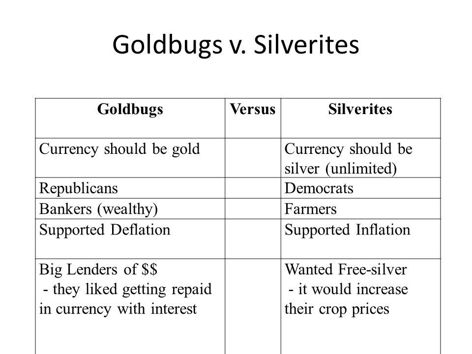 Goldbugs v. Silverites GoldbugsVersusSilverites Currency should be goldCurrency should be silver (unlimited) RepublicansDemocrats Bankers (wealthy)Far