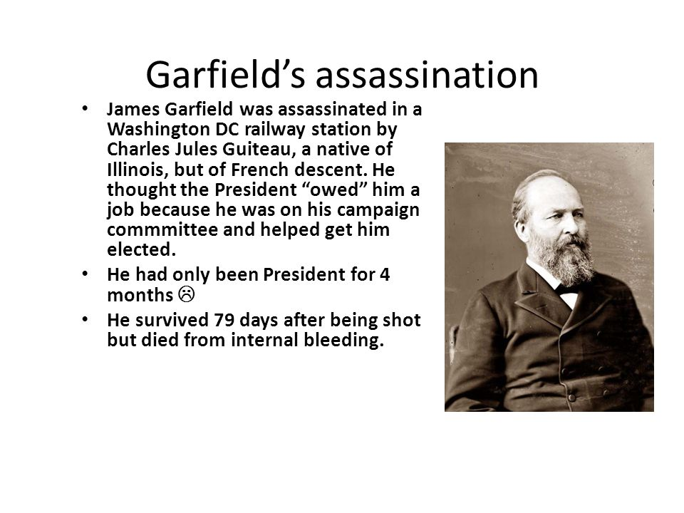 Garfields assassination James Garfield was assassinated in a Washington DC railway station by Charles Jules Guiteau, a native of Illinois, but of Fren