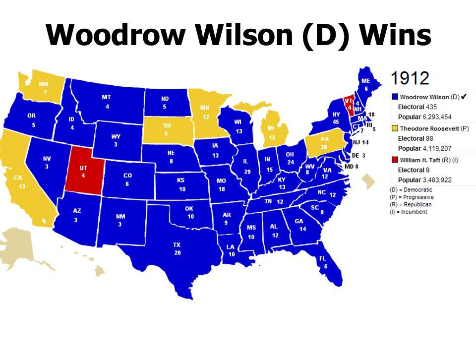 Woodrow Wilson (D) Wins