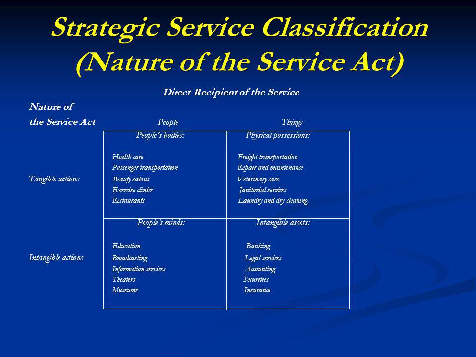 Strategic Service Classification (Nature of the Service Act) Direct Recipient of the Service Nature of the Service Act People Things Peoples bodies: Physical possessions: Health care Freight transportation Passenger transportation Repair and maintenance Tangible actions Beauty salons Veterinary care Exercise clinics Janitorial services Restaurants Laundry and dry cleaning Peoples minds: Intangible assets: Education Banking Intangible actions Broadcasting Legal services Information services Accounting Theaters Securities Museums Insurance
