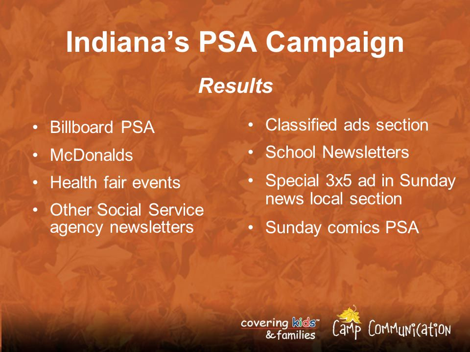 Indianas PSA Campaign Results Billboard PSA McDonalds Health fair events Other Social Service agency newsletters Classified ads section School Newsletters Special 3x5 ad in Sunday news local section Sunday comics PSA