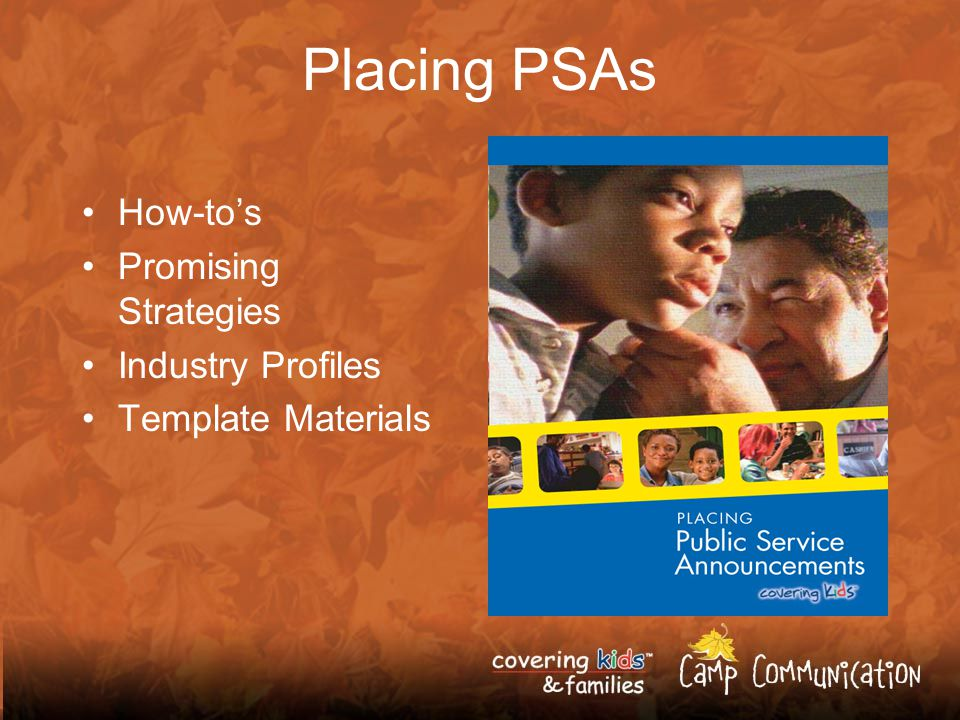 Placing PSAs How-tos Promising Strategies Industry Profiles Template Materials