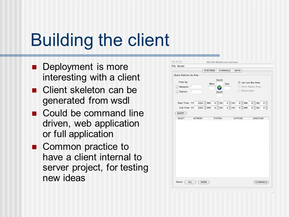 Server Deployment Most web service development environments have deployment tools Automation is essential - useful tools like ant Three levels of deployment EnvironmentFunctionUpdated LocalDevelopmentEvery 5 min TestLoad test, etc.Daily (or less) ProductionPublic serviceNew release only