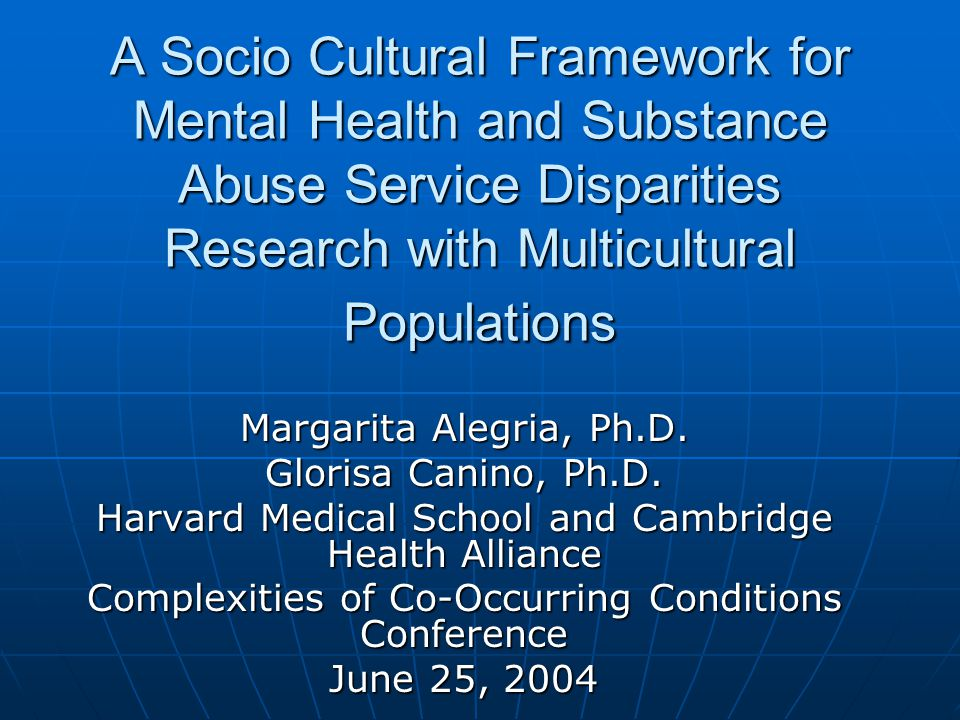Patient and Family level factors Low priority to MH/SA Tx Low priority to MH/SA Tx Multiple jobs of minorities and importance of retaining a job Multiple jobs of minorities and importance of retaining a job Family and social networks against mh Tx Family and social networks against mh Tx Limited knowledge of MH/SA and of MH/SA sector, including use of alternative sources (clergy) Limited knowledge of MH/SA and of MH/SA sector, including use of alternative sources (clergy) Difficulty in communicating need and goals of TX Difficulty in communicating need and goals of TX