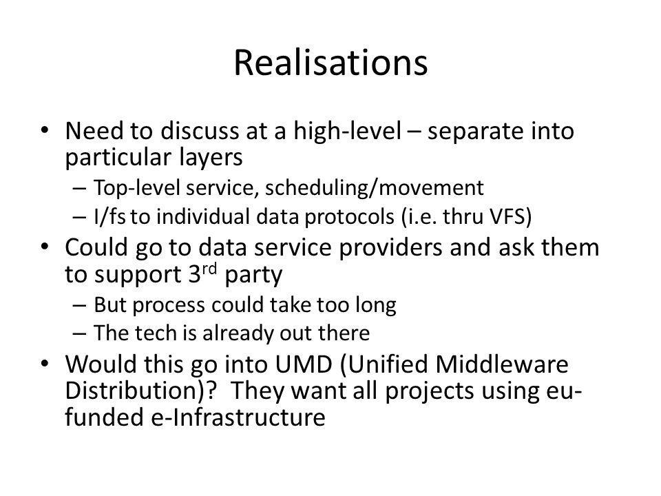 Realisations Need to discuss at a high-level – separate into particular layers – Top-level service, scheduling/movement – I/fs to individual data protocols (i.e.