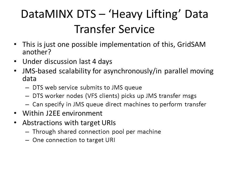 DataMINX DTS – Heavy Lifting Data Transfer Service This is just one possible implementation of this, GridSAM another? Under discussion last 4 days JMS