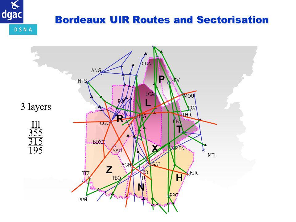 Bordeaux UIR Routes and Sectorisation ROA PPN NEV NTS ANG POI LCA MOU CFA LMG THR SAU AGN GAI TO U TBO BTZ PPG MEN FJR BDX CGC CDN MTL R L P T Z X N H