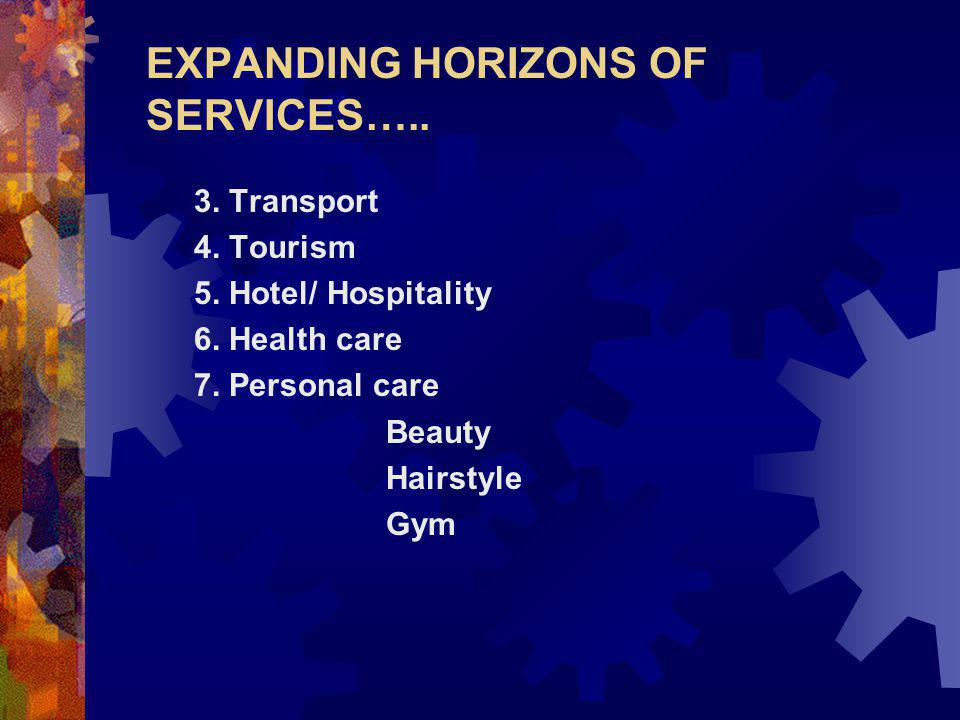 EXPANDING HORIZONS OF SERVICES….. 3. Transport 4.