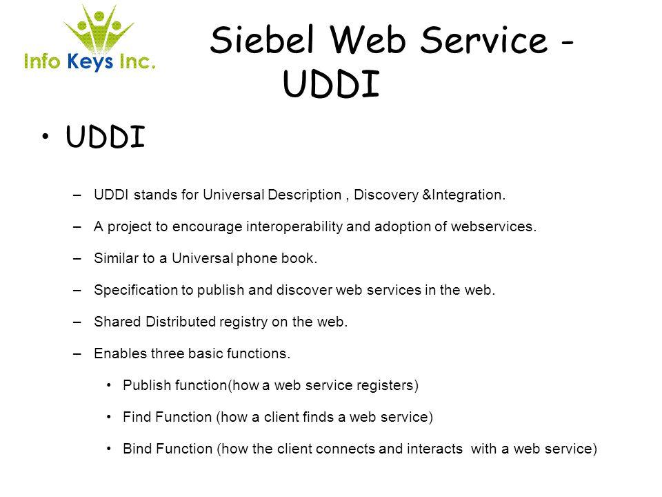 Siebel Web Service - UDDI UDDI –UDDI stands for Universal Description, Discovery &Integration. –A project to encourage interoperability and adoption o