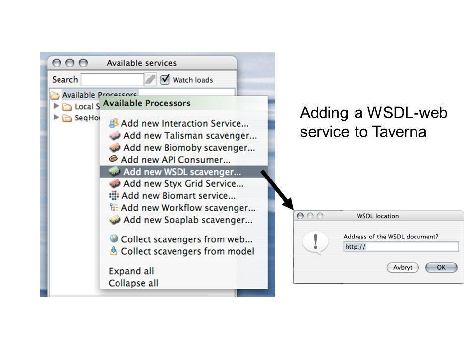 Adding a WSDL-web service to Taverna