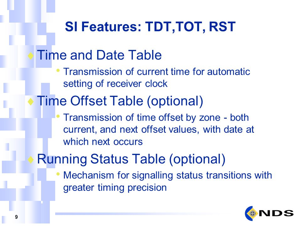 9 SI Features: TDT,TOT, RST Time and Date Table Transmission of current time for automatic setting of receiver clock Time Offset Table (optional) Tran